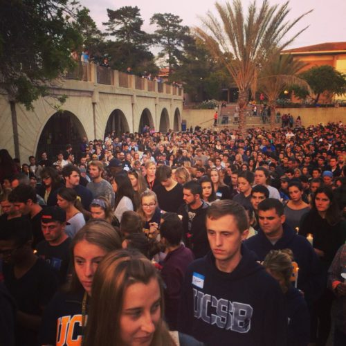 University of California Santa Barbara students meet in a candlelight vigil May 24. Photo: Nicole Janelle via Facebook