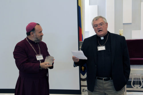 The Rev. Donald Vinson, canon for mission and transmission in the Diocese of West Virginia, addresses the Diocese of Colombia Convention. Colombia and West Virginia have a longstanding companion relationship. Photo: Lynette Wilson/ENS