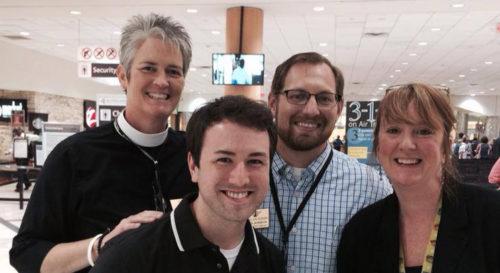 The Rev. Donna Mote and seminarians Cameron Nations, Michael Bordelon and Lisa McIndoo.