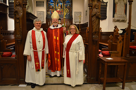 The Rev. Canon David Lovelace, the Rt. Rev. Robert Gepert and newly ordained deacon, the Rev. Diana Scheide.