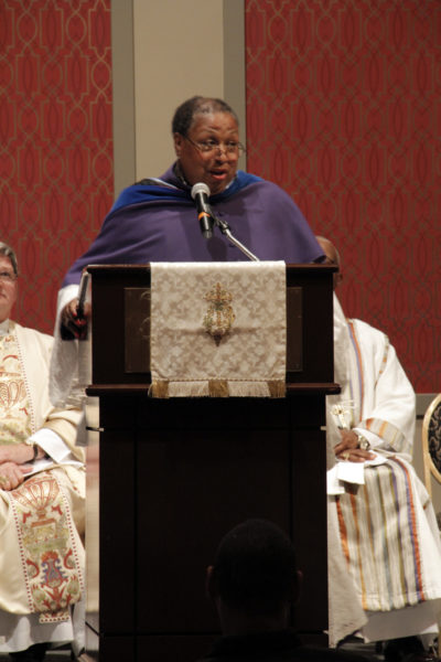 The Rev. Canon Sandye Wilson, rector of St. Andrew and Holy Communion Episcopal Church in South Orange, New Jersey, preached the sermon during the June 29 opening Eucharist of the 46th annual Union of Black Episcopalians conference June 29-July 3 at the Golden Nugget Hotel and Casino in Atlantic City, New Jersey. Photo: Lynette Wilson/ENS