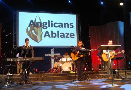 "The energetic ""blazing band"" accompanies sung worship at Anglicans Ablaze conference. Photo: Bellah Zulu/ACNS"