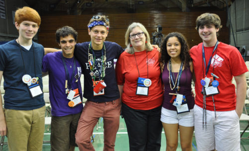 The Rev. Gay Clark Jennings, president of the House of Deputies, gathers with five Episcopal Youth Event 2014 participants who were members of the Official Youth Presence at the last meeting of General Convention in 2012. All five will be deputies from their dioceses when convention meets again June 25-July 3, 2015 in Salt Lake City. They are, left to right, Thomas Alexander of Arkansas, Pat Melendez of California, Will Burton-Edwards of Indianapolis, Ariana Gonzales-Bonillas of Arizona and David Kilp of Central Pennsylvania. Photo: Mary Frances Schjonberg/Episcopal News Service
