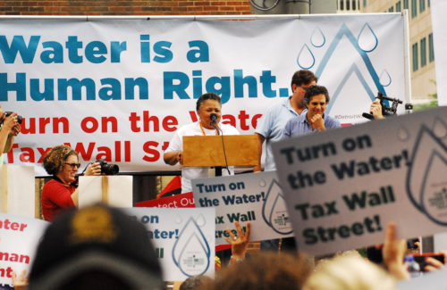 Thousands of protesters gathered in Detroit, Michigan, in defense of water rights including actor Mark Ruffalo who attended the march and rally. Photo: T.R. Smith/Diocese of Michigan
