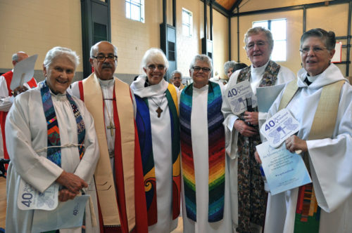 Attending the July 26 celebration were, left to right, the Rev. Alison Cheek, retired Bishop of Costa Rica Antonio Ramos, the Rev. Carter Heyward, the Rev. Merrill Bittner, the Rev. Marie Moorefield Fleischer and the Rev. Nancy Wittig. Photo: Mary Frances Schjonberg/Episcopal News Service