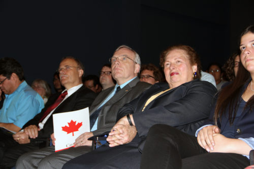 "U.S. Ambassador to El Salvador Mari Carmen Aponte and the Canadian and German ambassadors attending the screening of ""Before God, We Are All Family, at the National Museum of Anthropology in San Salvador attended by more than 70 people. Photo: Lynette Wilson/ENS"