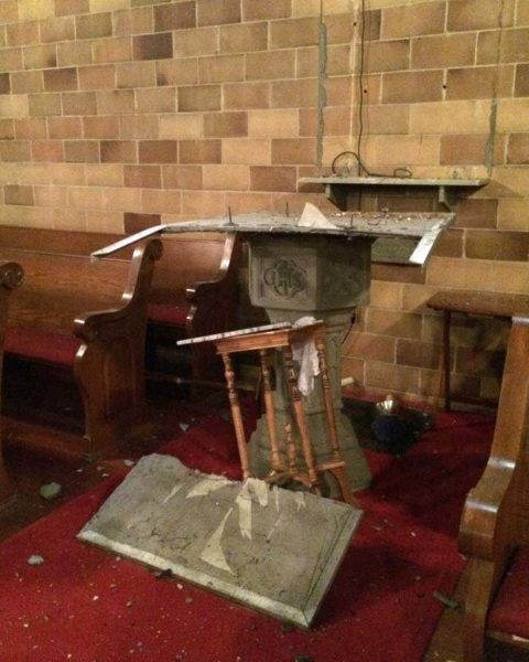 A 60-year-old mosaic of the Holy Spirit fell off the wall and broke apart on the baptismal font. Photo: St. Mary's Episcopal Church via Facebook
