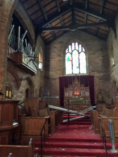 Organ pipes are seen scattered on the chancel floor at St. Mary's Episcopal Church in Napa, California, after amagnitude-6 earthquake hit the area early on Aug. 24. Photo: St. Mary's Episcopal Church via Facebook