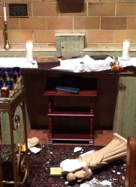 The magnitude-6 quake tumble a Madonna statue of the Mary Altar. Photo: St. Mary's Episcopal Church via Facebook.