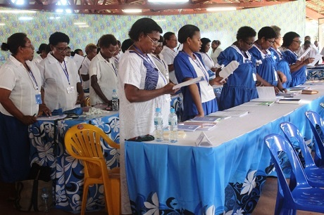 """""""Your mission is to liberate women from cultural and religious beliefs that oppress and discriminate against women,"""" Archbishop David told MU delegates. Photo: Anglican Church of Melanesia"""