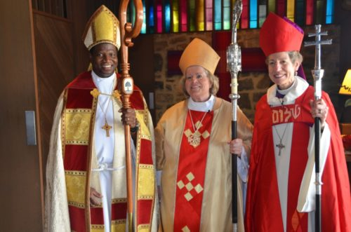 From left, Maryland Bishop Eugene Sutton, newly ordained Maryland Suffragan Bishop Heather Cook, and Presiding Bishop Katharine Jefferts Schori following the Sept. 6 ordination and consecration service. Photo: Richard Schori