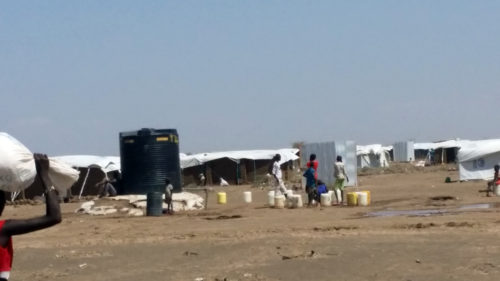 South Sudanese refugees at the Kakuma Camp in Kenya collect water for their families.