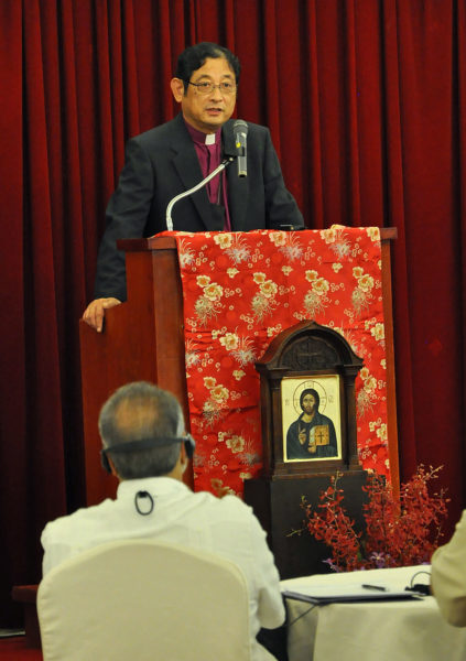 Archbishop Nathaniel Makoto Uematsu, the primate of the Nippon Sei Ko Kai (the Anglican Church in Japan), says the Japanese church is trying to be an agent of reconciliation in that country. Photo: Mary Frances Schjonberg/Episcopal News Service