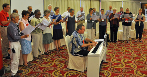 The House of Bishops and Spouses Choir rehearses prior to Eucharist Sept. 23 on the closing day of the house's meeting in Taipei. Photo: Mary Frances Schjonberg/Episcopal News Service
