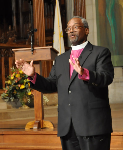 Diocese of North Carolina Bishop Michael Curry leads off the Oct. 2 church-wide gathering of the Task Force for Reimagining the Episcopal Church at Washington National Cathedral with a commentary on the biblical perspective on TREC's work. Photo: Mary Frances Schjonberg/Episcopal News Service