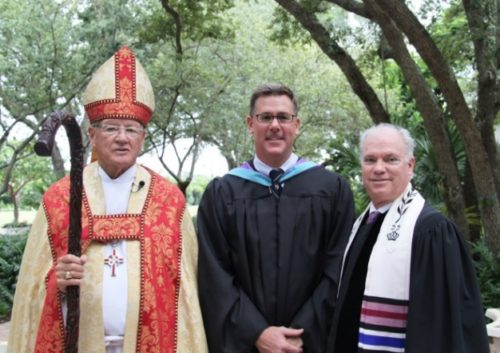 The Right Reverend Bishop Calvin O. Schofield, Jr.; Head of School, Patrick Roberts; and Rabbi Mark H. Kula of Bet Shira