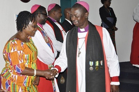 Primate and Bishop of Kumasi Dr Daniel Sarfo's clergy have determined that shaking hands during sharing the Peace will no longer be permitted to stop the spread of Ebola. Photo: The Church of the Province of West Africa