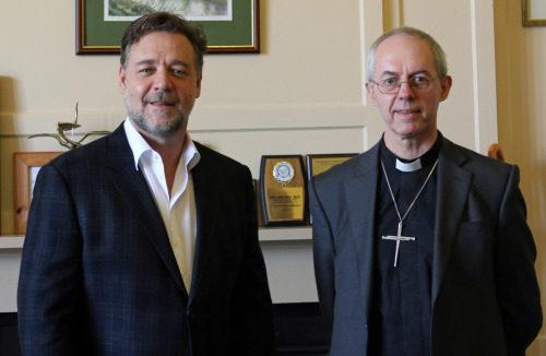 Russell Crowe se reunió con el arzobispo de Cantórbery Justin Welby en el Palacio de Lambeth al día siguiente de asistir al estreno en Londres de la película Noé [en la cual tiene el papel protagónico]. Foto/Palacio de Lambeth.