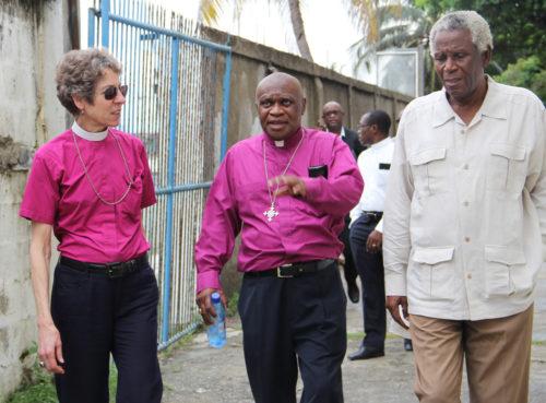 Presiding Bishop Katharine Jeffert Schori, Haiti Bishop Jean Zaché Duracin and the Rev. Jean MacDonald, retired, during a visit to the trade school in Cap-Haitien. Photo: Lynette Wilson/ENS