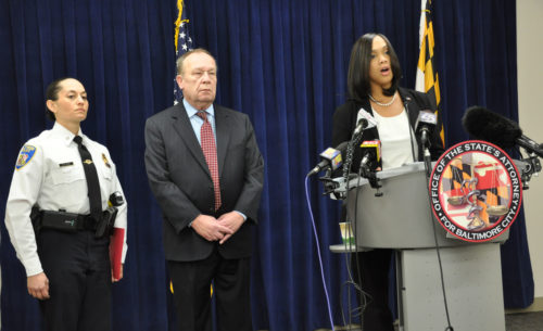 Baltimore City State's Attorney Marilyn Mosby Jan. 9 announces the initial charges against Diocese of Maryland Bishop Suffragan Heather Cook in the Dec. 27 fatal accident that killed a bicyclist. Standing with her are Lt. Colonel Melissa Hyatt and Don Giblin, chief of homicide for the State's Attorney's Office. Photo: Mary Frances Schjonberg/ENS