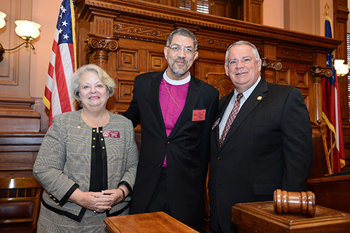 Bishop Rob Wright pauses with Rep. Mary Margaret Oliver of Decatur and Speaker of the House of Representatives David Ralston in February 2013 on the occasion of Wright's speaking to the House. Photo: Don Plummer