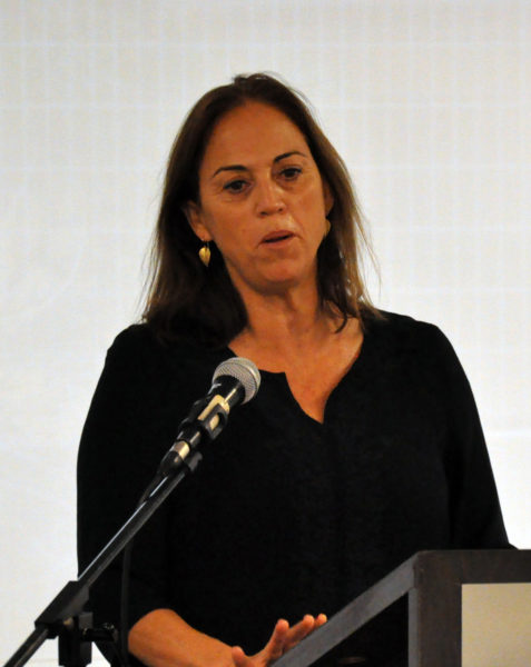 Ruth Calderon, a member of the Israeli Knesset, addresses the interfaith group in Tel Aviv. Photo: Matthew Davies/ENS