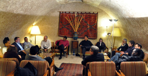 Members of the group reflect on the weeklong pilgrimage before returning home to the U.S. Photo: Matthew Davies/ENS