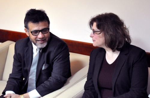 Azhar Azeez, president of the Islamic Society of North America, and Rabbi Batya Steinlauf, director of social justice and interfaith initiatives for the Jewish Community Relations Council of Greater Washington, in conversation ahead of meetings with Palestinian government officials. Photo: Matthew Davies/ENS