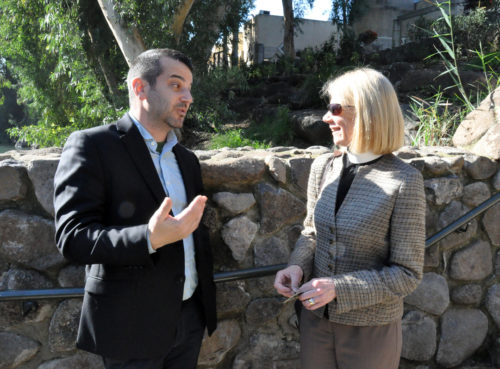 Ethan Felson, vice president and general counsel for the Jewish Council for Public Affairs, and The Rev. Margaret Rose, Episcopal Church deputy for ecumenical and interfaith relations, during a visit to the Yardenit Baptismal Site on the Jordan River. Photo: Matthew Davies/ENS