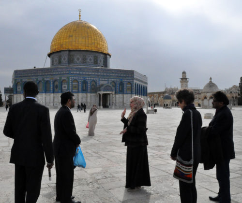 Members of the interfaith pilgrimage visit the Dome of the Rock and the Al-Aqsa Mosque, the third holiest site in Islam. Photo: Matthew Davies/ENS