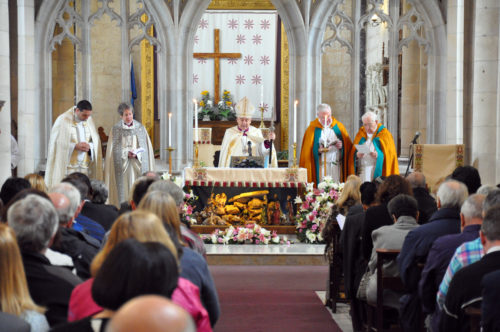 Interfaith pilgrims join the Sunday morning service at St. George's Anglican Cathedral. Photo: Matthew Davies/ENS