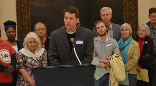 The Rev. Joseph Shippen of Christ Church, Macon, who represented Bishop Robert C. Wright at a press conference following the meetings with legislators,