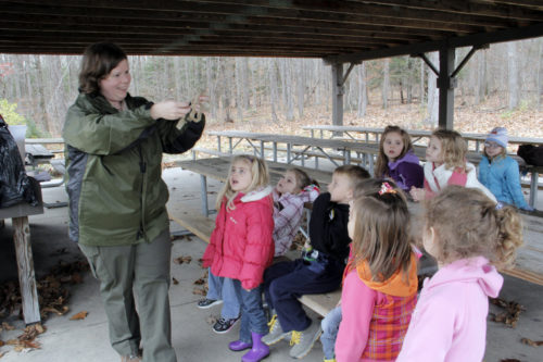 Coal Country preschoolers take part in a field trip led by Beth Garner, an education specialist with the Pennsylvania Department of Natural Resources, to Prince Gallitzin State Park. Photo: Lynette Wilson/ENS