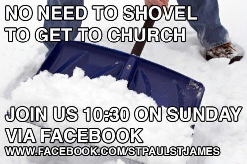 A Facebook ad invites parishioners of the Episcopal Church of St. Paul and St. James in New Haven, Connecticut, to join a virtual service in the warmth and safety of their own homes.