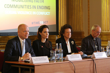 From right: UK Conservative Member of Parliament William Hague, Actress Angelina Jolie-Pitt, Minister of State of the Foreign and Commonwealth Office the Rt. Hon. Baroness Anelay, and Archbishop of Canterbury Justin Welby, on a panel at the FCO event. Photo: Anglican Alliance
