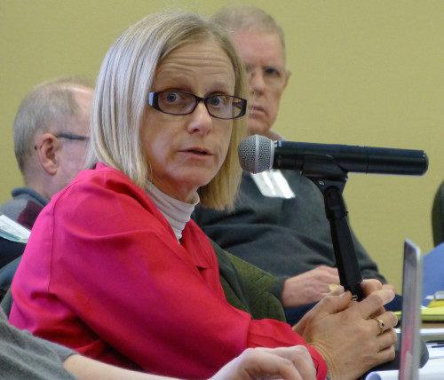 La Rda. canóniga Victoria Heard, de Dallas, hace una pregunta durante una sesión plenaria del PB&F el 24 de febrero. Foto de Mary Frances Schjonberg/ENS.