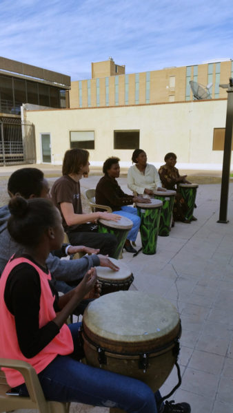 Drumming helps trauma survivors to heal and reconnect. Photo: Refugee Focus