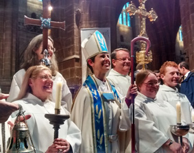 Bishop Libby Lane with servers at Chester Cathedral during her installation service. Photo: Diocese of Chester