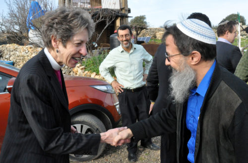 Presiding Bishop Katharine Jefferts Schori and Rabbi Hanan greet one another as the interfaith delegation arrives at Gush Etzion to learn about the work of Roots. Photo: Matthew Davies