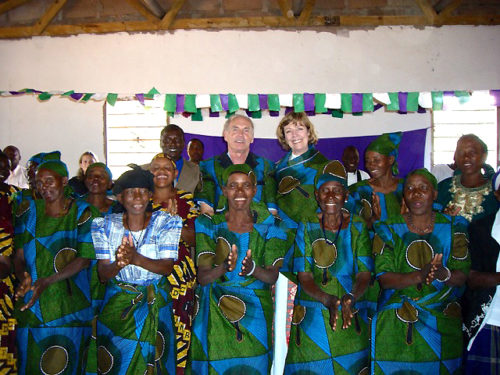 The McCanns are made honorary members of St. Paul's Women's Choir in Mvumi Makula, during a parish visit in the Diocese of Central Tanganyika.