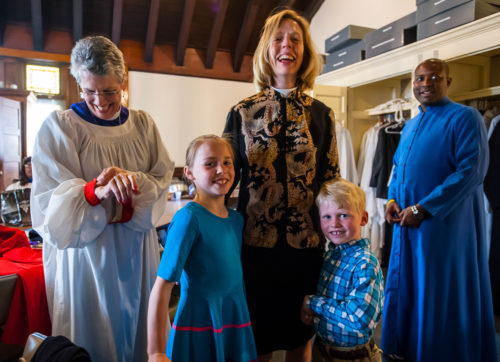 The Rt. Rev. Bavi E. (Nedi) Rivera, provisional bishop of the Diocese of Eastern Oregon, the Rev. Katharine (Kate) G. Flexer and her children Frances and Benjamin, and seminarian Tommie Watkins, following the May 3 installation. Photo: Dave McGlynn