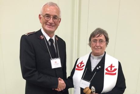 The Rev. Canon Alyson Barnett-Cowan (right) with her CCC predecessor Lt. Col. Champ. Photo: Bruce Myers