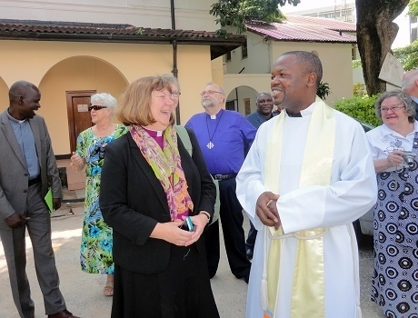 Edmonton Bishop Jane Alexander and the Rev. Yohana Mtokambali at St. Alban's Cathedral in Dar es Salaam. Photo: John Kafwanka
