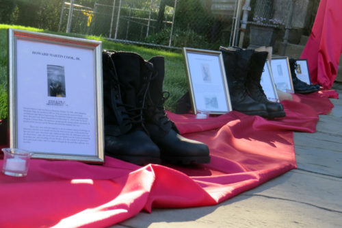 Seven parishioners who died serving in World War I were remembered with a Memorial Day display of boots, candles and photos at St. James Episcopal Church in Upper Montclair, New Jersey. Photo: Sharon Sheridan