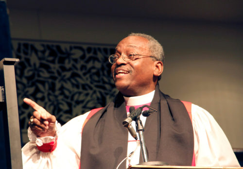 North Carolina Bishop Michael Curry preaching during the 77th General Convention Eucharist in 2012. Photo: Lynette Wilson/Episcopal News Service