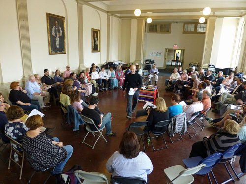 """Under the watchful eyes of previous bishops of Pennsylvania, a group of """"pioneers in ministry"""" sat in a circle at Christ Church, Philadelphia, and talked about their experiences in The Episcopal Church's Mission Enterprise Zones and New Church Starts project. Photo: Mary Frances Schjonberg/Episcopal News Service"""