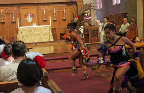 Quetzalhuitzilin Colibri dance group, a ministry of St. Philip the Apostle Church in Lemon Grove, California, performs an Aztec dance at St. Paul's Cathedral in San Diego during the cathedral's Mexican Independence Day celebration. The Diocese of San Diego received a received a Mission Enterprise Zone grant to help fund its Latino Leadership Project. Photo: Catedral San Pablo.