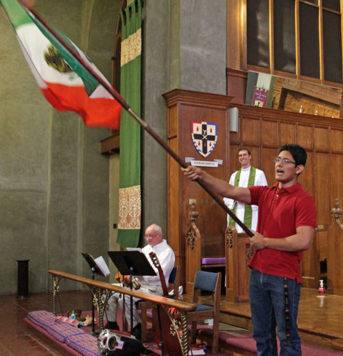 Irving Hernandez performs the el grito, the traditional call-and-response cry of independence at St. Paul's Cathedral in San Diego during the cathedral's Mexican Independence Day celebration. Photo: Catedral San Pablo