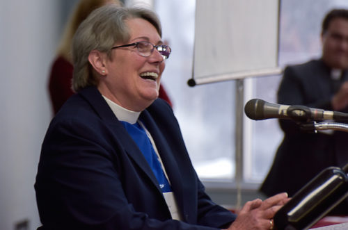 """Montreal has always been in my heart,"" says Bishop-elect Mary Irwin-Gibson, whose election is greeted by applause. She served parishes in Montreal for 28 years before moving to Kingston, Ontario. Photo: Tony Hadley"