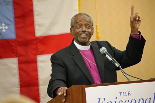 Presiding Bishop-elect Michael Curry makes a point at his first news conference a few hours after his historic election as the 27th presiding bishop of The Episcopal Church. Photo: Janet Kawamoto / For Episcopal News Service